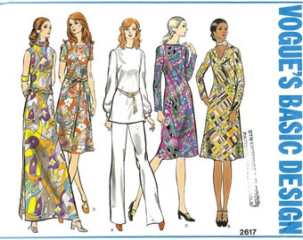 PATTERN Vogue 2617 Semi fitted A-line dress or tunic sleeve variations and straight legged pants Size 16 Vogue's Basic Design