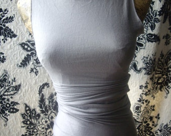 Soft  sexy bodycon long tshirt / dress with raw edges, high fashion, urban edgy custom made