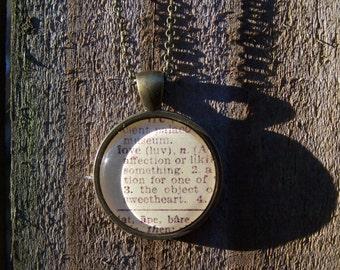 Love Vintage Dictionary Print Handmade Cabochon Necklace--Christmas Anniversary Gift--Bridesmaid Gift--Wedding Gift