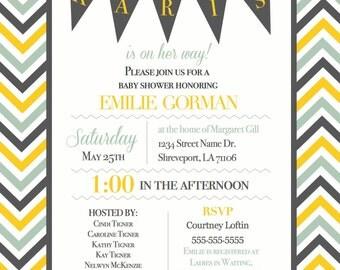 Chevron Baby Shower Invitation for Girl