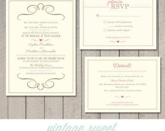 Modern Wedding Invitation, RSVP, Information Card (Printable) by Vintage Sweet