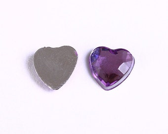 Dollar Sale Clearance - 8mm purple heart cabochons - 8mm mauve faceted heart cabochon with Silver Foil - 10 pieces (966)
