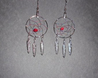 Handcrafted Red coral dreamcatcher earrings