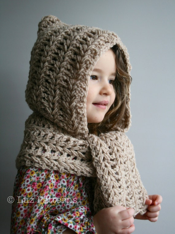 Crochet Patterns Download : Crochet Pattern, INSTANT DOWNLOAD crochet hat pattern, hooded scarf ...
