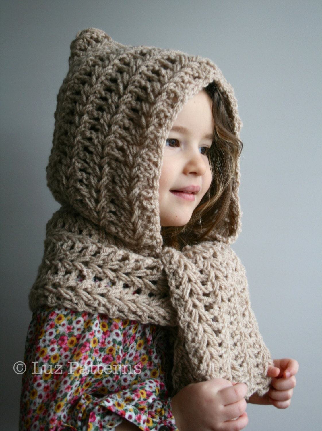 Crochet Patterns For Scarf And Hat : Crochet Pattern INSTANT DOWNLOAD crochet hat pattern hooded