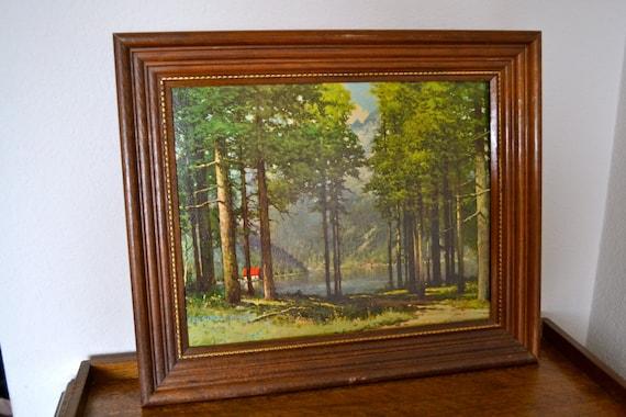 Vintage Robert Wood Litho Art Print Pine Grove Lake 1960s