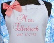 White Apron Coral Pink Monogramming Bridal Gift
