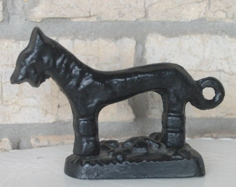 "Antique Iron Dog Childs Flat Iron RARE Victorian Counterweight 6"" Long Door Stop Book End Scottie Terrier with Looping Tail"