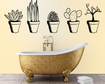 Potted Plants wall decal  set of 5 plants