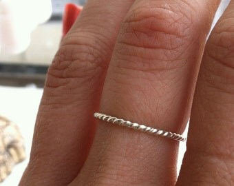 16g Thick Rope Textured Sterling Silver Stacking Ring - custom made to order