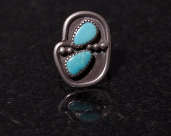 OLD Pawn Silver Ring Two Stone Turquoise Size 7
