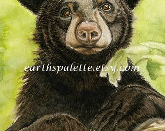 Black bear, 8x10 print from original watercolor painting,bears, wildlife,animals, home decor, rustic, wall art, earthspalette