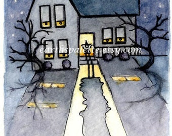 Witch, haunted house, atc, 2.5x3.5 PRINT from original watercolor, halloween, art & collectibles earthspalette