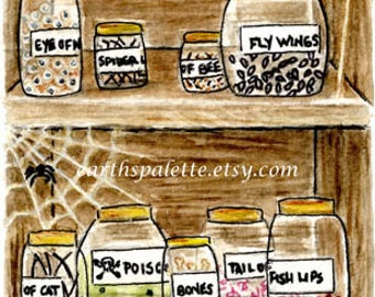 Witch's apothecary, ATC, 2.5X3.5,  PRINT from original illustration, halloween art earthspalette