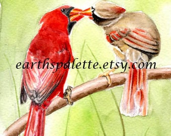 Red cardinal bird painting, 5x7 print, original watercolor painting, art & collectibles, wall art,home decor, earthspalette