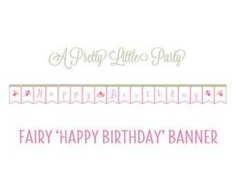 Fairy banner - Pixie banner -  Woodland fairy - Party Supplies - INSTANT DOWNLOAD