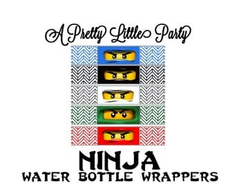 Ninja Bottle Wrappers  - Ninja - Party Supplies - INSTANT DOWNLOAD