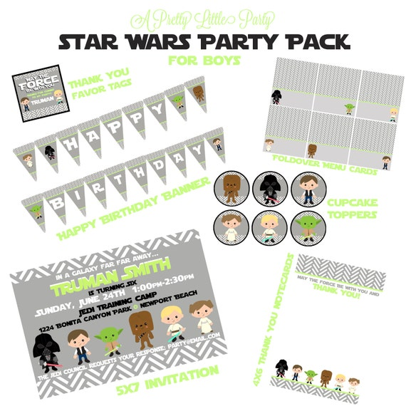 Star Wars Custom Birthday Party Pack  - Star Wars Party Invitation - Party Supplies