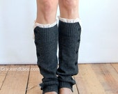 SALE SALE The Miss Molly - Charcoal Grey Slouchy Button Down Leg warmers with Knit Lace trim - Legwarmers (item no. 7-4) - GraceandLaceCo