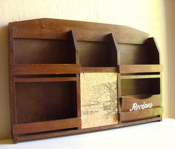 Vintage Wood Message Center Mail Holder Recipe Box Shelf Organizer Wall Hanging