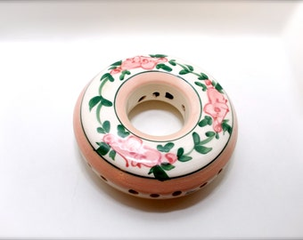 Vintage Potpourri Candle Flower Holder Hand Painted 1950s Cottage Chic