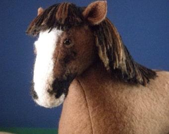 Artist bear horse, brown paint quarter horse, soft sculpture horse