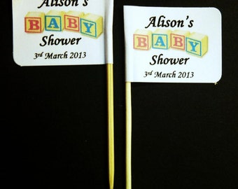 20 x Personalised Baby Shower Cupcake Topper Flags / Picks Cake Decoration