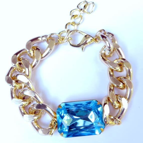 The Alyssa Bracelet in Aquamarine. Rhinestone and chunky chain statement bracelet.