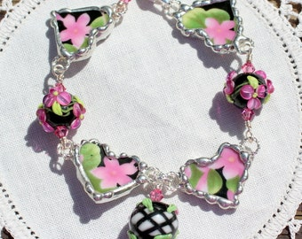 Bracelet, Broken China Jewelry, Broken China Bracelet, Lampwork Beads, Pink and Black Floral Chintz, Sterling Silver