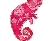 Magenta Chameleon Archival Art Print
