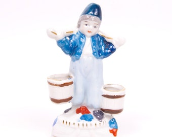 Vintage Dutch Boy Figurine Occupied Japan Hand Painted Porcelain Holland Decor