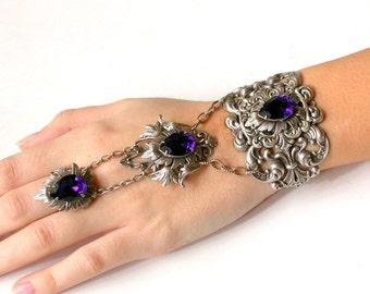 Swarovski Purple Slave Bracelet Gothic Silver Ring Bracelet - Slave Bracelet Ring Victorian Gothic Jewelry Gothic Wedding Bridal Jewelry