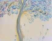 print of a watercolor: tree of life-limited edition-dated and signed