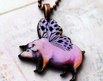 When Pigs Fly pendant, pig, wood, whimsical, flying pig,