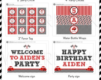Vintage Red Black Racing Car Birthday Party Package Personalized FULL Collection Set  - PRINTABLE DIY - PS807CA2x