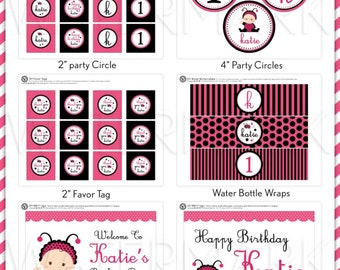 Sweet Pink Lady Bug Birthday Party Package Personalized FULL Collection Set  - PRINTABLE DIY - PS815CB2x