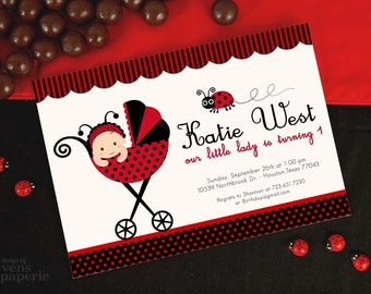 DIY PRINTABLE Invitation Card - Red Lady Bug Birthday Party - PS815CB1a3