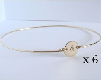 Bridesmaids gold initial bangles set - Bridal personalized initial bracelet - Bridesmaid gift - Custom initial bangle - Friendship bracelet