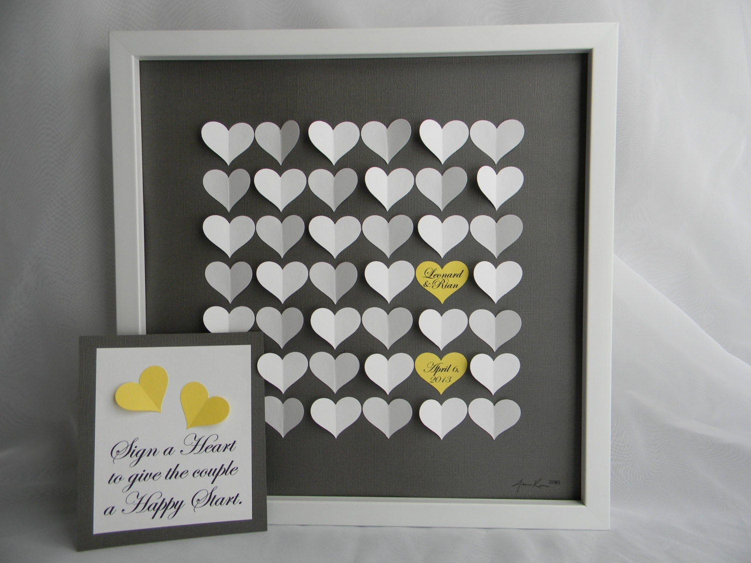 Alternative Wedding Gifts: Wedding Guest Book Alternative 3D Paper Hearts Lovely Bridal