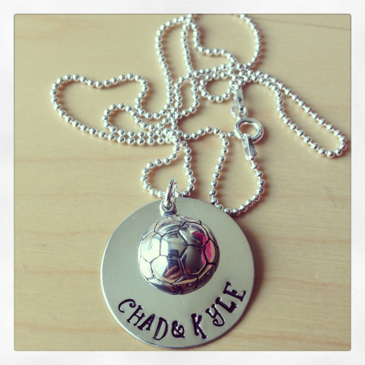 Sterling Silver Hand Stamped Soccer Personalized Necklace