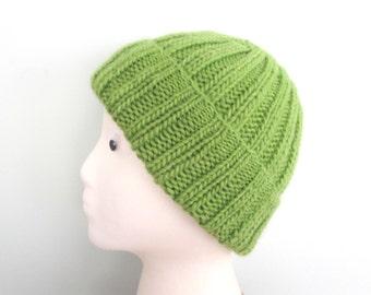Knit Hat in Bright Green, Llama Wool, Boys Girls Kids Tweens Teens Women, Ribbed Toque Beanie