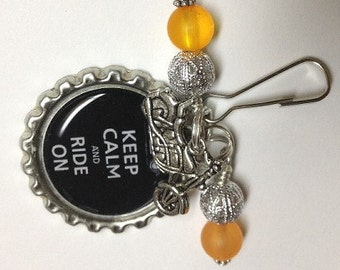 Motorcycle Biker Zipper Pull Keyring or Bookmark With Bike Charm Beaded Keep Calm Ride On