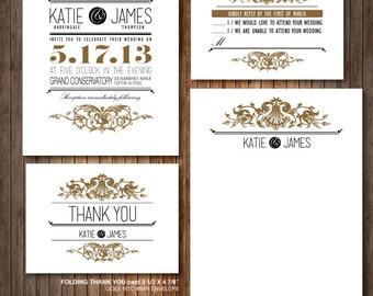Elegant Vintage Victorian wedding Invitation - RSVP - Thank you card - label - DIY Printable - Customized cottage chic