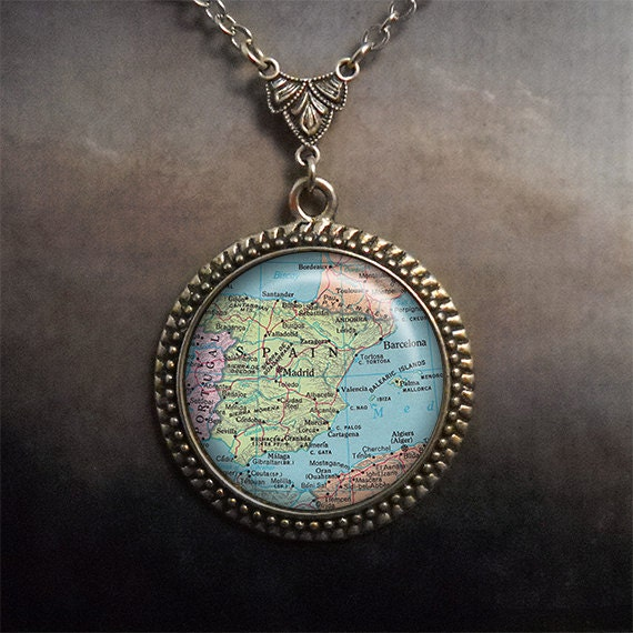 spain vintage map necklace spain map necklace by