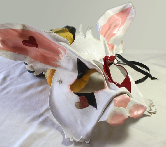 White Rabbit leather mask for Halloween and Masquerade