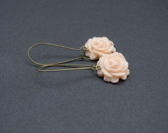 Polymer Clay Rose Earrings. Peach Color Flower Earrings. Long, Dangle, Antique Brass. Flower Jewelry