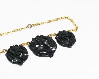 1930s bakelite necklace black carved medallion trio flower floral pierced brass choker rare