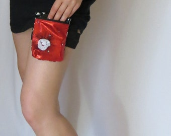 Garter Purse, flask thigh holster, Metallic Red leg bag, size XL, OOAK discontinued style