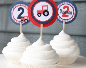 TRACTOR Themed Happy Birthday or Baby Shower Cupcake Toppers 12 {One Dozen}