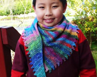 CROCHET PATTERN - Crochet Fun Shawl - Crochet Playful Shawlette - Crochet Dinosaur Tail - Simple crochet pattern - Fun crochet pattern